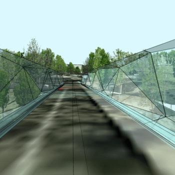Illustrasjonsbilde/skisse til bru med høyt, gjennomsiktig rekkverk